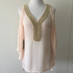 Bebe Gold Beads Blouse in Blush